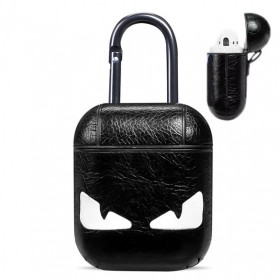 Vozro Cartoon PU Leather Case Monster for AirPods 1 & 2 Charging Case with Carabiner - A-EJT - Black White