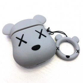 Vozro Cartoon Silicone Case Kaws X Bear for AirPods 1 & 2 Charging Case with Lanyard - A-EJT - Gray