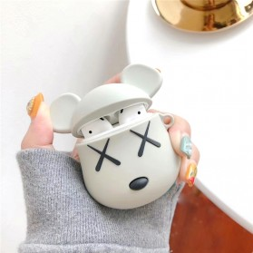 Vozro Cartoon Silicone Case Kaws X Bear for AirPods 1 & 2 Charging Case with Lanyard - A-EJT - Gray - 2