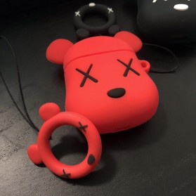 Vozro Cartoon Silicone Case Kaws X Bear for AirPods 1 & 2 Charging Case with Lanyard - A-EJT - Gray - 4
