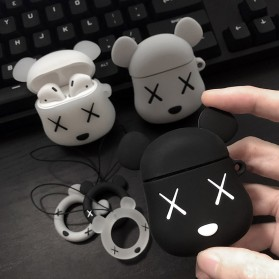 Vozro Cartoon Silicone Case Kaws X Bear for AirPods 1 & 2 Charging Case with Lanyard - A-EJT - Gray - 6
