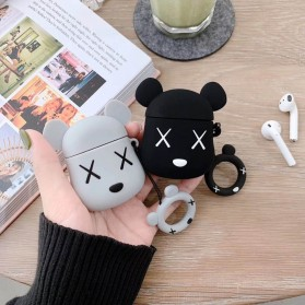 Vozro Cartoon Silicone Case Kaws X Bear for AirPods 1 & 2 Charging Case with Lanyard - A-EJT - Gray - 8