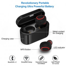 TWS Sporty Earphone Bluetooth 1 Pair with Charging Dock - HV-358 - Black - 6