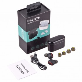 TWS Sporty Earphone Bluetooth 1 Pair with Charging Dock - HV-358 - Black - 9