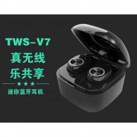 True Wireless Earphone Bluetooth dengan Charging Case - TWS-V7 - Black - 1
