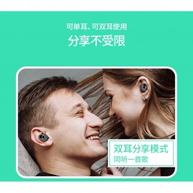 True Wireless Earphone Bluetooth dengan Charging Case - TWS-V7 - Black - 2