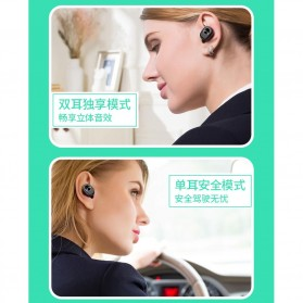 True Wireless Earphone Bluetooth dengan Charging Case - TWS-V7 - Black - 3