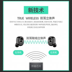 True Wireless Earphone Bluetooth dengan Charging Case - TWS-V7 - Black - 7
