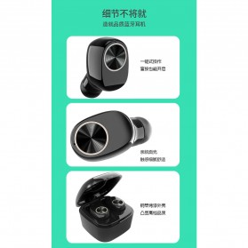 True Wireless Earphone Bluetooth dengan Charging Case - TWS-V7 - Black - 8