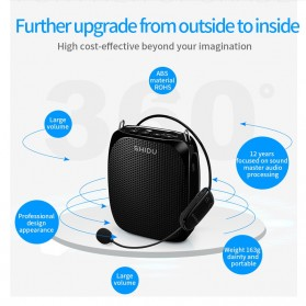 SHIDU Megaphone Mikrofon Penguat Suara Audio Tourguide Speaker 10W - SD-S615 - Black - 2