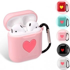 CASPTM Love Silicone Case for AirPods 1 & 2 Charging Case with Carabiner- 43153 - Black - 2