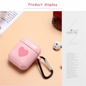 CASPTM Love Silicone Case for AirPods 1 & 2 Charging Case with Carabiner- 43153 - Black - 10