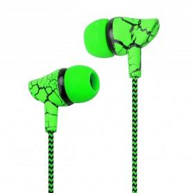 LAPU Earphone Headset Earbuds Volume Control + Microphone - LP-T9 - Green - 1
