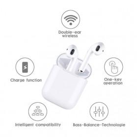 NAIKU TWS Airpods Earphone Bluetooth with Charging Case - i9S - White - 3