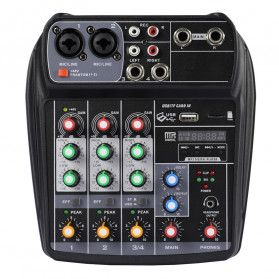TEYUN Professional Mixing Console Monitor Effect Processor 4 Channel - TU04 - Black