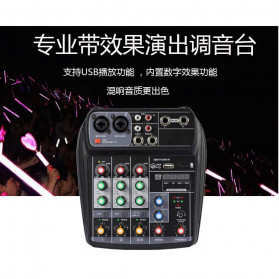 TEYUN Professional Mixing Console Monitor Effect Processor 4 Channel - TU04 - Black - 5