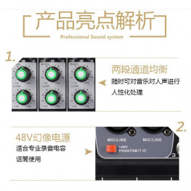TEYUN Professional Mixing Console Monitor Effect Processor 4 Channel - TU04 - Black - 6
