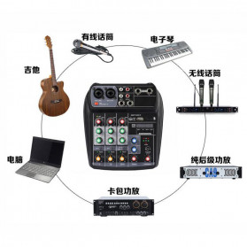 TEYUN Professional Mixing Console Monitor Effect Processor 4 Channel - TU04 - Black - 9