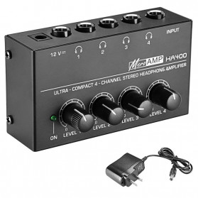Fuwahsoon Ultra-Compact Headphone Amplifier Audio Stereo 4 Channel with Power Adapter - HA400 - Black