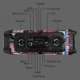 YINEW Outdoor Portable Bluetooth Speaker Subwoofer with Mic - CH-M17 - Black - 3