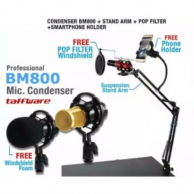 Taffware BM-800 Paket Smule Condenser Microphone + Scissor Arm Stand NB-35 + Smartphone Holder + Pop Filter - Black