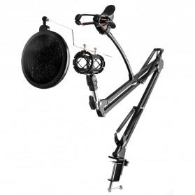 Taffware BM-800 Paket Smule Condenser Microphone + Scissor Arm Stand NB-35 + Smartphone Holder + Pop Filter - Black - 2