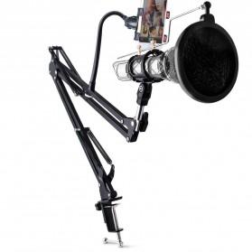 Taffware BM-800 Paket Smule Condenser Microphone + Scissor Arm Stand NB-35 + Smartphone Holder + Pop Filter - Black - 5