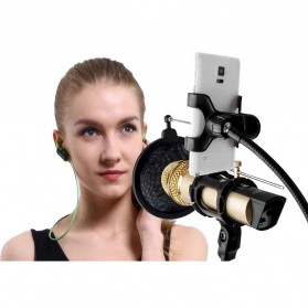 Taffware BM-800 Paket Smule Condenser Microphone + Scissor Arm Stand NB-35 + Smartphone Holder + Pop Filter - Black - 8