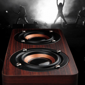 ANSUOFU Desktop Bluetooth Speaker Stereo Subwoofer TV Version with Mic - W5 - Brown - 2
