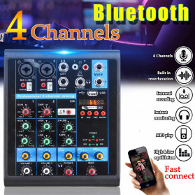 LEORY USB Mini Portable Live Audio Mixer Karaoke DJ 4 Channel - B23997 - Black