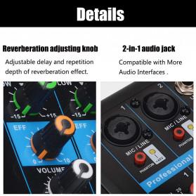 LEORY USB Mini Portable Live Audio Mixer Karaoke DJ 4 Channel - B23997 - Black - 10