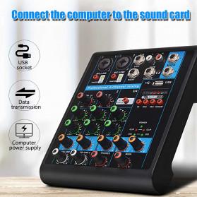 LEORY USB Mini Portable Live Audio Mixer Karaoke DJ 4 Channel - B23997 - Black - 2