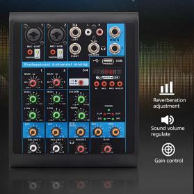 LEORY USB Mini Portable Live Audio Mixer Karaoke DJ 4 Channel - B23997 - Black - 3