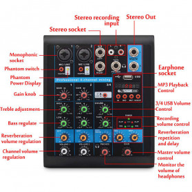 LEORY USB Mini Portable Live Audio Mixer Karaoke DJ 4 Channel - B23997 - Black - 4