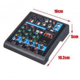 LEORY USB Mini Portable Live Audio Mixer Karaoke DJ 4 Channel - B23997 - Black - 6