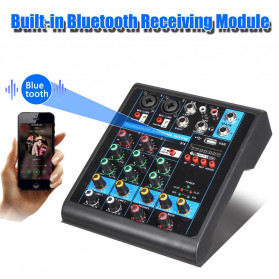 LEORY USB Mini Portable Live Audio Mixer Karaoke DJ 4 Channel - B23997 - Black - 8