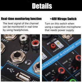 LEORY USB Mini Portable Live Audio Mixer Karaoke DJ 4 Channel - B23997 - Black - 9