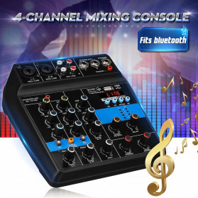 LEORY USB Mini Portable Live Audio Mixer Karaoke DJ 4 Channel - B55423 - Black