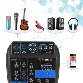 LEORY USB Mini Portable Live Audio Mixer Karaoke DJ 4 Channel - B55423 - Black - 2