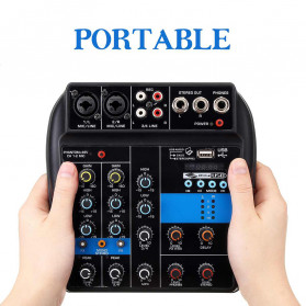LEORY USB Mini Portable Live Audio Mixer Karaoke DJ 4 Channel - B55423 - Black - 3