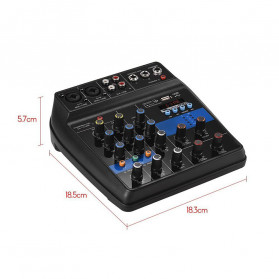 LEORY USB Mini Portable Live Audio Mixer Karaoke DJ 4 Channel - B55423 - Black - 6