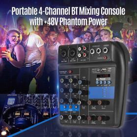 LEORY USB Mini Portable Live Audio Mixer Karaoke DJ 4 Channel - B55423 - Black - 7
