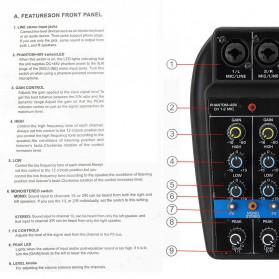 LEORY USB Mini Portable Live Audio Mixer Karaoke DJ 4 Channel - B55423 - Black - 10