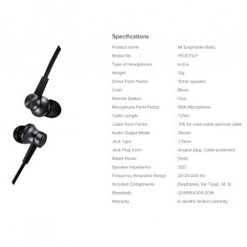 Xiaomi Mi Basic Earphone Ultra Deep Bass with Mic (Replika 1:1) - Black - 6