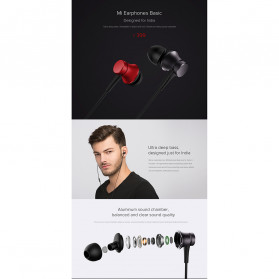 Xiaomi Mi Basic Earphone Ultra Deep Bass with Mic (Replika 1:1) - Black - 5