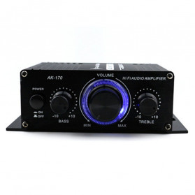 ANENG HiFi Mini Stereo Car Amplifier Treble Bass Booster - AK170 - Black