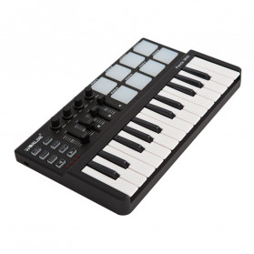 WORLDE Piano Digital 25 Key + DRUM Pad Midi Controller Professional Musical Instrument - PD879 - Black