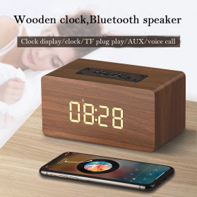PUMG Jam Alarm LED Wood Clock with Bluetooth Speaker - W5C - Brown