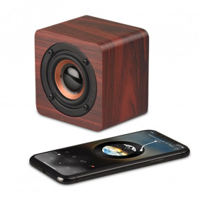 Docooler Wooden Bluetooth Speaker Stereo Subwoofer - Q1 - Brown - 3