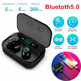 Robotsky TWS Sport Earphone True Wireless Bluetooth 5.0 with Powerbank Charging Dock 3600mAh - M7 - Black